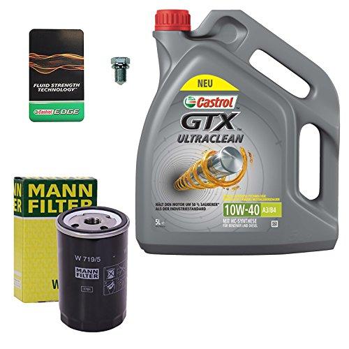 1x Ölwechsel Set - MANN-FILTER ÖLFILTER + 5 L CASTROL GTX ULTRACLEAN 10W-40 A3/B4