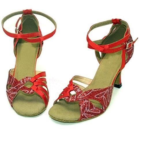 Pobofashion Rote Satin-Damentanzschuhe mit glitzerndem Blätterdesign für lateinamerikanische Tänze - rot/blau/orange Rot ZzrlsVNiz