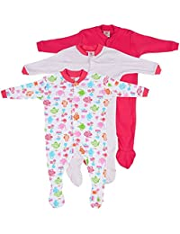 EIO Girl's Mini Berry Long Sleeve Cotton Sleepsuit-Set Of 3 (Multicolour, 0-3 Months, 545)