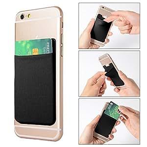XCSOURCE 2pcs Elastic Lycra Cell Phone Wallet Case Credit ID Card Holder Pocket Stick On 3M Adhesive (Black) AC418