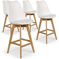 Menzzo Lot de 4 chaises Hautes scandinaves Bovary Blanc, Polypropylène, 49x53x112 cm