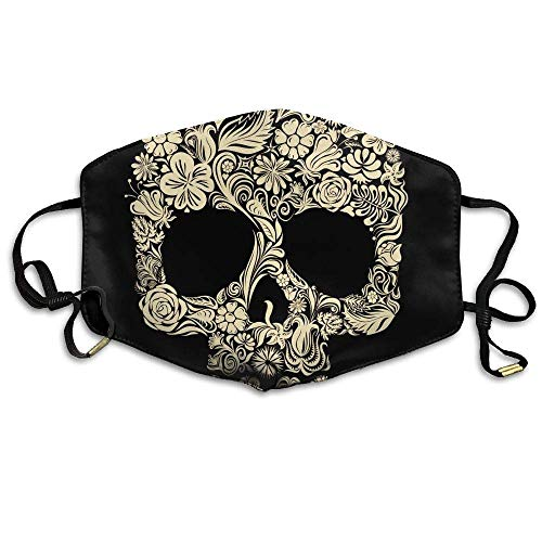 HUSDFS Mouth Maske Halloween Gold Floral Skull Unisex Face Mask Ear-loop Dust Protecting Mask Cycling Reusable Mask Gold Floral Tapestry