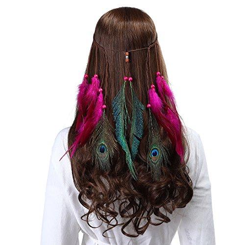 AWAYTR Pfau Feder Stirnband indisch Kopfschmuck - Boho Kopfstück Hippie Schick Maskerade Einstellbar Haar Band zum Frauen Mädchen Haarschmuck (Rose rot)