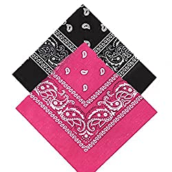 Pack of 2 Black & (Bright) Hot Pink Paisley Bandanas for Men, Women & Kids Neck scarf Handkerchief Head tie kerchief Neck Tie hankie shawl veil Neckerchief babushka bandannas novelty wear