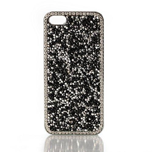 Luxury Fashion Chrome Crystal Diamond Case For Iphone 5 5S SE - Black