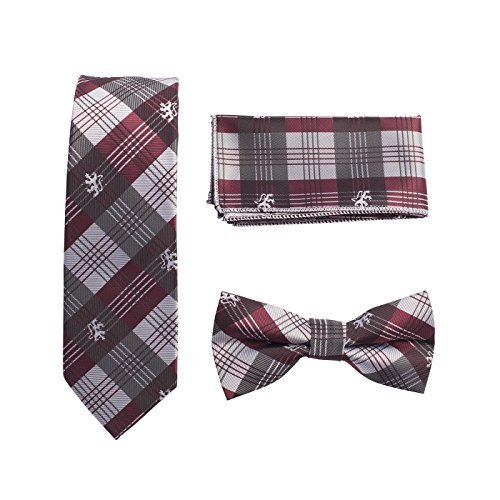TIE015-Mens 3 Pcs Gift Set Silk Feel Skinny Neck Tie+Bow Tie+Hanky Scottish Tartan lion Print (Bow Tie Tartan)