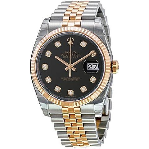 Datejust 36 chiusura in oro rosa, quadrante 116231 Orologio con diamanti, colore: nero