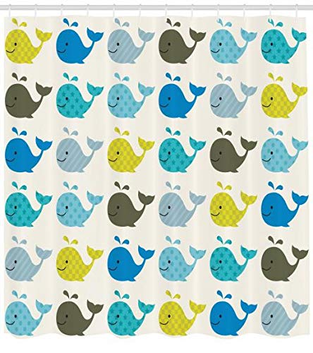 ABAKUHAUS Kindergarten Duschvorhang, Bunte Wale Tiere, Trendiger Druck Stoff mit 12 Ringen Farbfest Bakterie und Wasser Abweichent, 175 x 200 cm, Blau Kohle Grau Hellblau