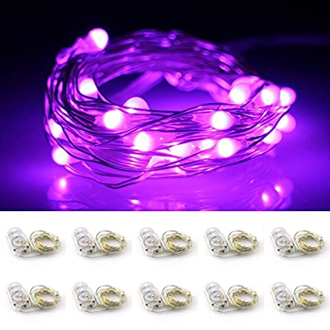 LXINGS Battery Operated Mini String Lights 10 Sets of 2M/20LEDs Silver Wire Starry Rope Fairy Bottle Light For Christmas Holiday Party Costume Wedding Centerpiece