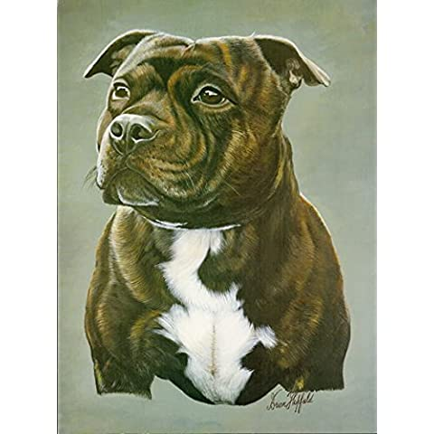 Brindle Staffordshire Bull Terrier Stampa