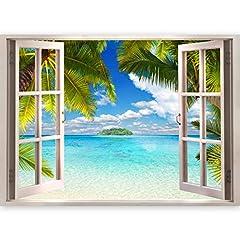 Idea Regalo - murando - 3D ILLUSIONE OTTICA | 140x100 cm 3D ILLUSIONE OTTICA | Carta da parati sulla fliselina | Hit | Carta da parati in TNT | Quadri murali | Fotomurale | Finestra Mare Spiaggia Palma
