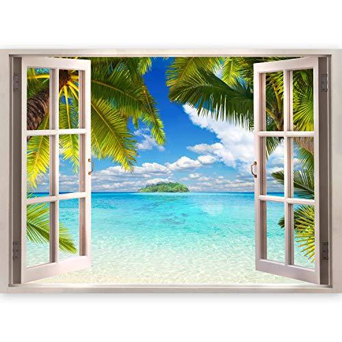 murando - 3D WANDILLUSION 210x150 cm Wandbild - Fototapete - Poster XXL - Fensterblick - Vlies Leinwand - Panorama Bilder - Dekoration - Meer Strand Dünen