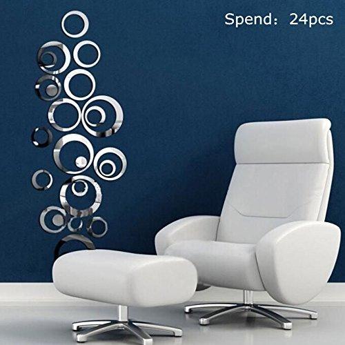 Tonsee (TM) 1set Sweet Círculos Tonsee (TM) Espejo Estilo extraíble vinilo adhesivo arte de pared adhesivo decoración del hogar