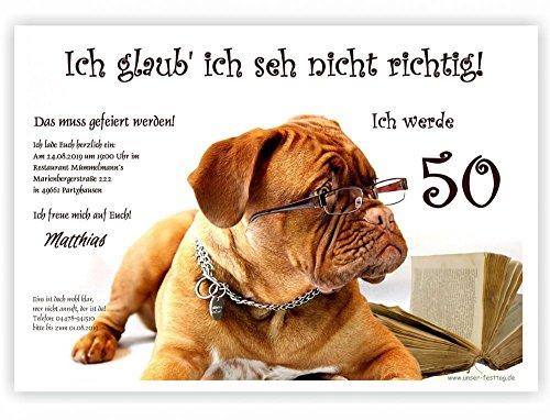 Moderne Einladungen zum Geburtstag 18 20 25 30 40 mit Spruch - cool lustig Wunschtext ändern, 50 Karten DIN A5