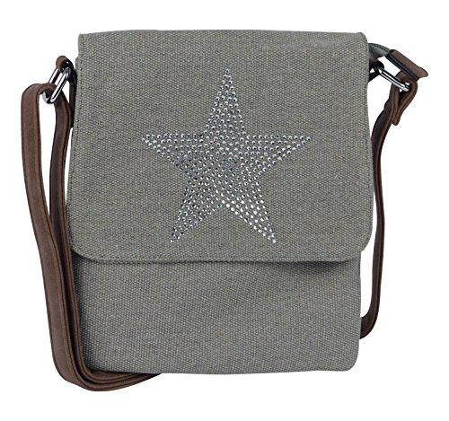 Kleine Umhängetasche mit glitzerndem Stern - Canvas Vintage Style - praktische Aufteilung - Damen Mädchen Teenager Tasche - Mädchen Teenager Taschen Für