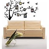 Kayau Árbol del marco negro de la foto de decorativos vinilos de pared familiares desmontables impermeables