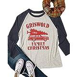 VEMOW Heißer Elegante Damen Frauen Große Größe Frohe Weihnachten Alphabet Druck Langarm Casual Täglich Freizeit Spleißen Top T-Shirt(Schwarz, EU-40/CN-M)