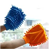 #5: Bulfyss Pack of 2 Microfiber Dusting Cleaning Glove for Home Office Kitchen Hotel (Assorted Colours)