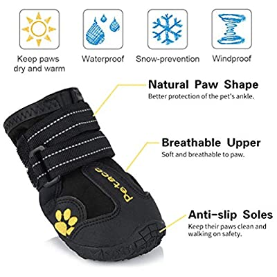 Petacc Protective Dog Boots, Set of 4 Waterproof Dog Shoes for Large Dogs, Black from Petacc