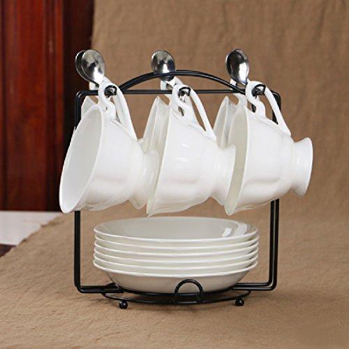 KHSKX Britische weiß Bone China Kaffeetassen set Kombinationen von einfachen retro Keramik Untertasse mit Regalen in den Nachmittag Lufthutze Untertasse Regale
