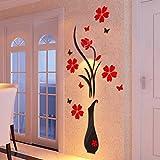3D Wandaufkleber DIY Vase Blume Baum Kristall Acryl Spiegel Aufkleber Fenster Abziehbilder Wand Dekoration TV Hintergrund Deko LuckyGirls