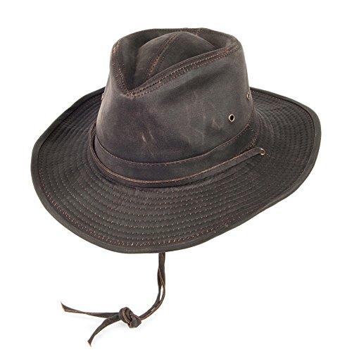 Village Hats Chapeau Australien en Coton à Effet Usé Marron Dorfman-Pacific