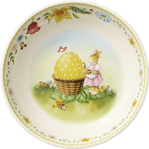 Villeroy & Boch Spring Fantasy Osterkörbchen, Bunny Family, Porzellan, 22 x 22 x 6,5 cm, weiß (Mikrowellen Oster)