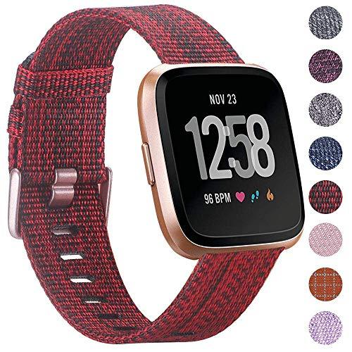 CAVN Armbänder Kompatibel mit Fitbit Versa/Versa 2 /Versa Lite Armband Gewebt, Damen Herren Stoff Ersatzarmband Strap Uhrenarmband Handschlaufe mit Verstellbare Metall Spange für Versa/Versa 2 /Lite
