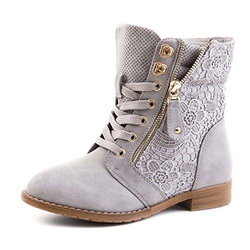 Stylische Damen Stiefeletten Worker Boots Spitze in hochwertiger Lederoptik, Grau, 43 EU