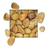 5 kg Polierter Kiesel Glanzkies Flusskiesel Kieselsteine Ziersteine Gartenkies Zierkies gelb Körnung 20/30 mm