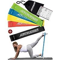 Lot de 5 bandes élastiques ActiveVikings - Parfait pour la musculation, physiothérapie, pilates, yoga, gymnastique et crossfit