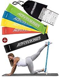 Fitnessbänder Set 5-Stärken by ActiveVikings® - Ideal für Muskelaufbau Physiotherapie Pilates Yoga Gymnastik und Crossfit | Fitnessband Gymnastikband Widerstandsbänder
