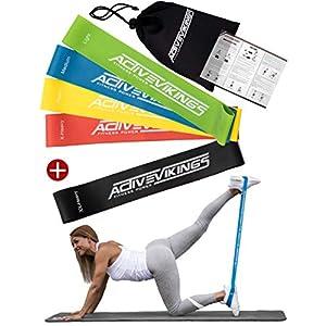 Fitnessbänder Set 5-Stärken by ActiveVikings® – Ideal für Muskelaufbau Physiotherapie Pilates Yoga Gymnastik und Crossfit | Fitnessband Gymnastikband Widerstandsbänder