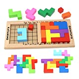 Lewo Wooden Tetris Puzzle Burr Tangram Jigsaw Brain Toy Educational Toys (18 Pieces)