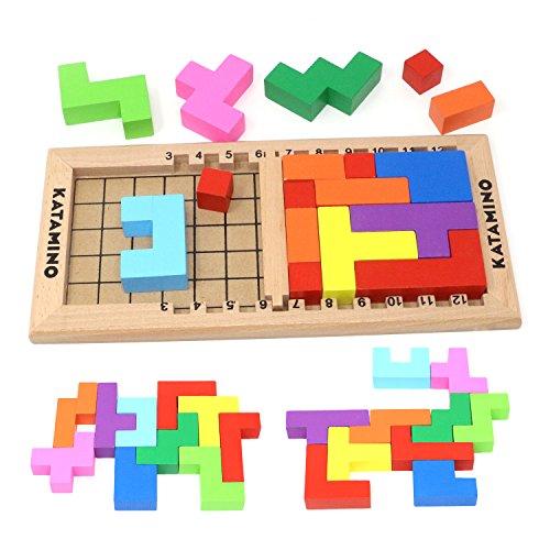 Lewo Wooden Tetris Puzzle Burr Tangram Jigsaw Brain Toy Educational Toys (18 Pieces)