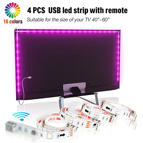 LED TV Hintergrundbeleuchtung 2m Kit Für 40-60 Zoll TV,Pangton Villa RGB 5050 led Strip mit Fernbedienung Usb TV Beleuchtung,MEHRWEG Rgb Tv