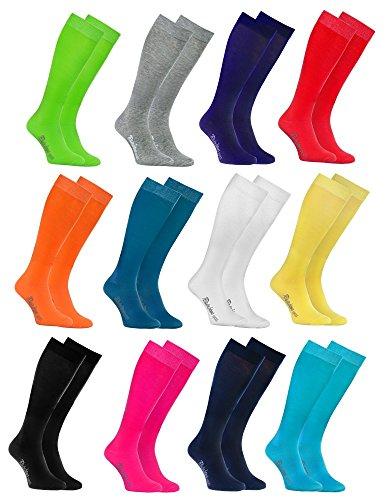 Rainbow Socks - Damen Herren Bunte Baumwolle Kniestrümpfe 12 Paar - Mehrfarbig Größen: EU 44-46