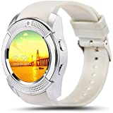Smartwatch Android , Anding Bluetooth Smart Watch Pulsera Deportes Fitness Tracker Tarjeta SIM TF con Pedometer Sleep Monitor Impermeable Wireless Smart Bracelet para Android Iphone (Blanco)