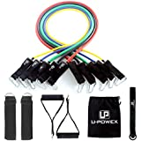 """UPOWEX Resistance Bands Set €"""" Include 5 Stackable Exercise Bands with Carry Bag, Door Anchor Attachment, Legs Ankle Straps & Bonus eBook €"""" 100% Life Time Guarantee (Resistance Band)"""