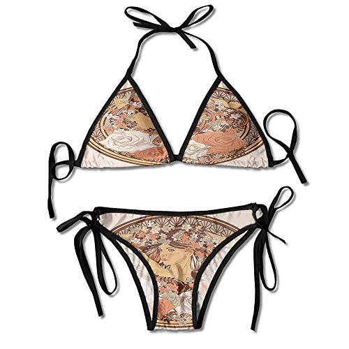 Custom Pattern Off The Shoulder Ruffles Ribbed Two Piece Bikini Swimwear -