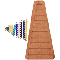 MagiDeal Montessori Matemáticas Materiales Coloreados Escalera de Perlas Artificial Con Bandeja