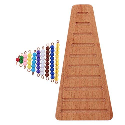 MagiDeal Montessori Matemáticas Materiales Coloreados Escalera de Perlas Artificial con Bandeja