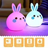 Easter Bunny Night Light Rabbit Lamp Silicone Touch Sensor Color Changing LED Light Easter Gift for Bedside Baby Nursery Lamp, Romantic Atmosphere Decor by MakeTheOne