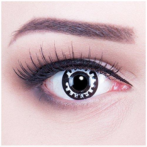 bige schwarze weisse weiße Crazy Fun Steampunk Jahres Kontaktlinsen perfekt zu Halloween, Karneval, Fasching oder Fasnacht mit gratis Kontaktlinsenbehälter ohne Stärke! ()