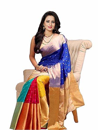 purvi fashion Cotton Silk Saree With Blouse Piece (SEaT DoWn bm4_001_multi colours_Free...