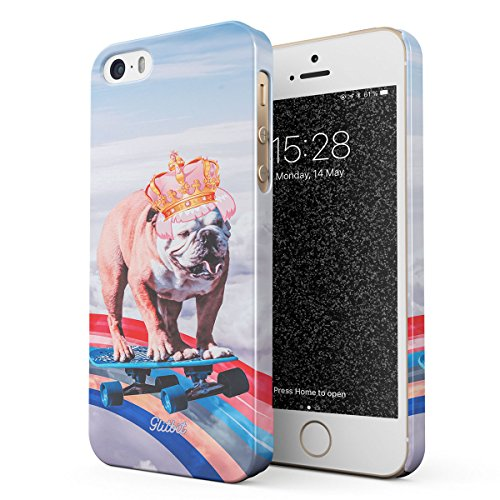 2a9bf1488d0 Glitbit Coque pour iPhone 5 / 5s / Se Case French Bulldog Flying Rainbow  Dog Trippy Laser Unicorn Doggo Paw Funny Gift for Dog Lover Chien Housse  Étui ...