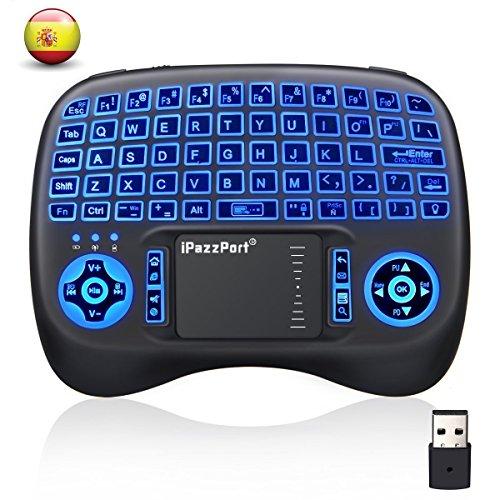 Mini Teclado Inalámbrico MECO  Mini RF2.4G Teclado Inalámbrico QWERTY Español con Touchpad Tres Colores Retroiluminada Batería Recargable para Android TV BOX/ Raspberry Pi /Smart TV/PC