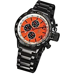 Mens Black Designer Watch Metal Bracelet Orange Dial Large Face Multifunction Day Date Konigswerk AQ201739G