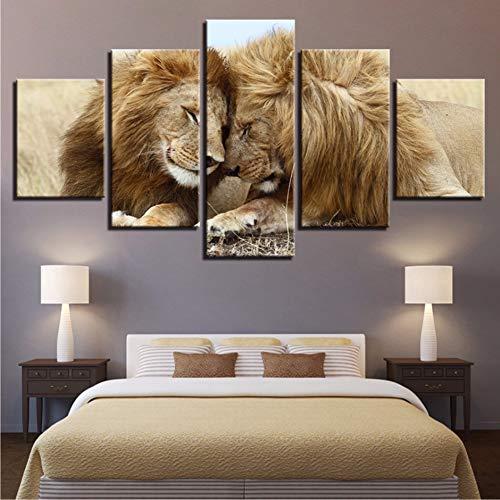 QThxqa Lona HD imprime cuadros para la sala Decoración para el hogar marco 5 unidades Leones par lovebirds pinturas animal Posters Arte de la pared