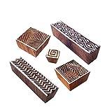 Royal Kraft Handgemacht Gestalten Zickzack und Geometrisch Holz Blöcke Stempel (Set von 5)